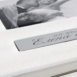 Сватбена фотокнига бяла кожа с инициали върхи алуминий 2